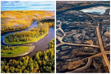 """Alberta, Canada. Avant et après l'exploitation du gaz de schiste, 1er prix au concours néo-libéral """"paye ton saccage"""" en 2012."""